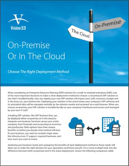 SAP Business One Deployment Methods On-Premise vs Cloud Brochure